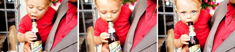 Kid drinking San Miguel at a Wedding