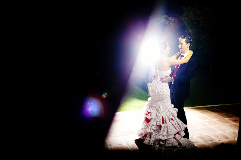 First dance at a rustic wedding venue in Spain
