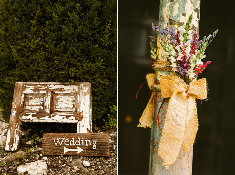Flowers and a wedding sign at Rancho Del Ingles
