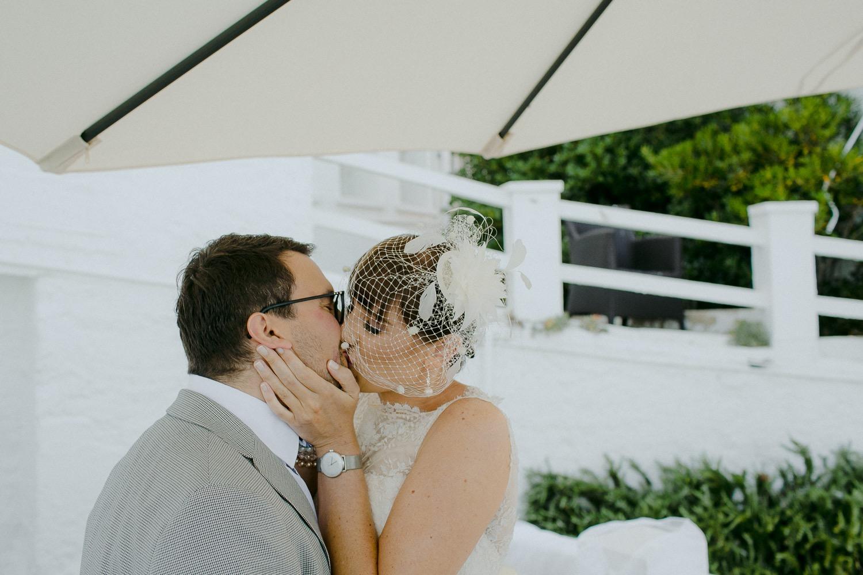 First kiss at The Caleta Hotel Wedding