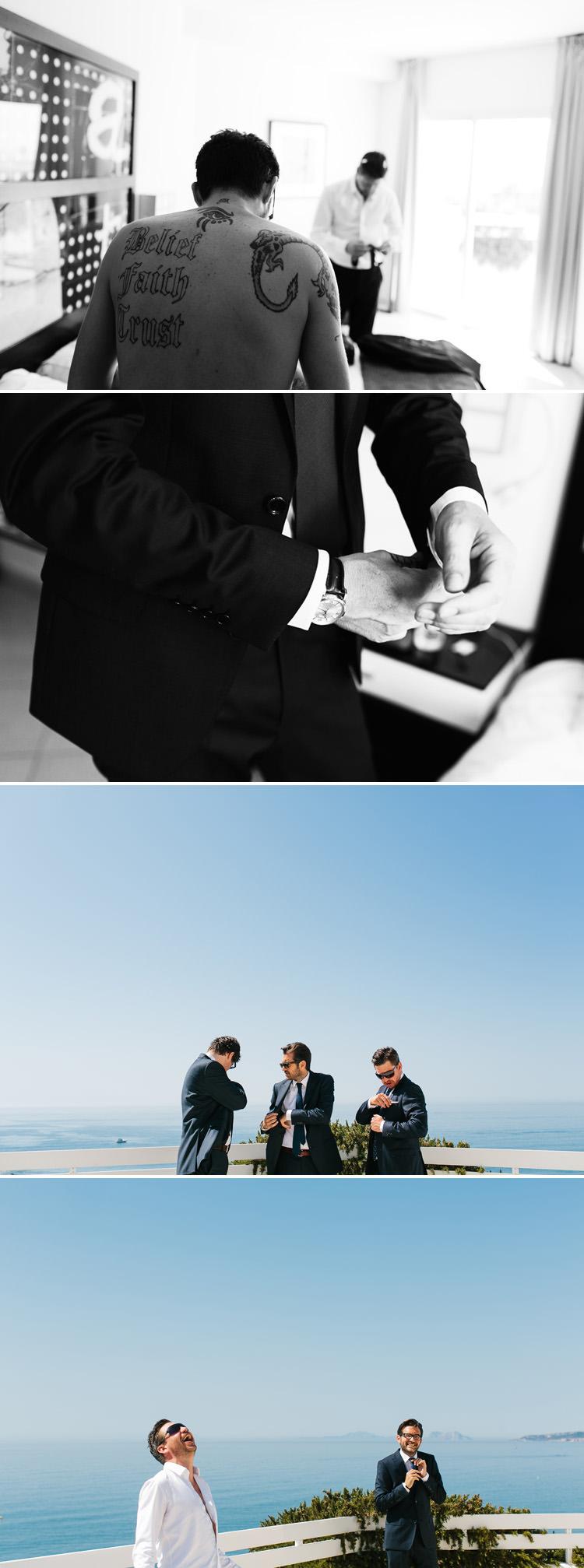 B/W portrait of the groom