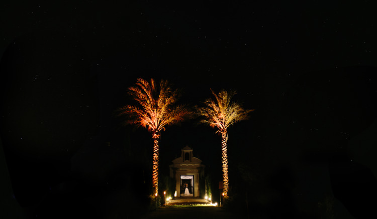 The entrace at night