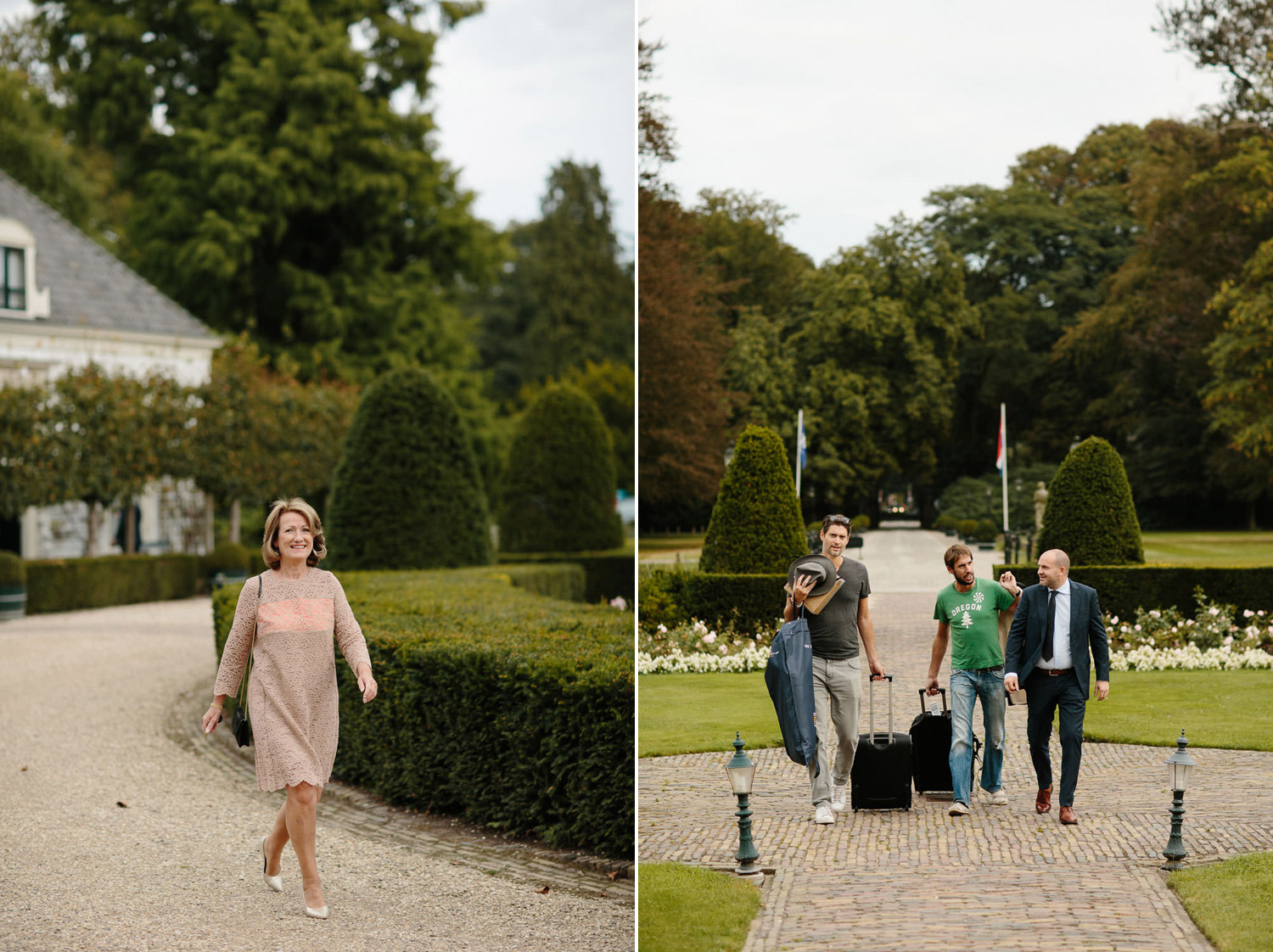Weddings guests arriving at Kasteel Engelenburg