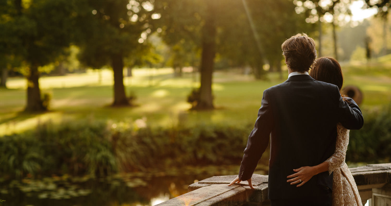 Sunset Wedding portrait at Kasteel Engelenburg