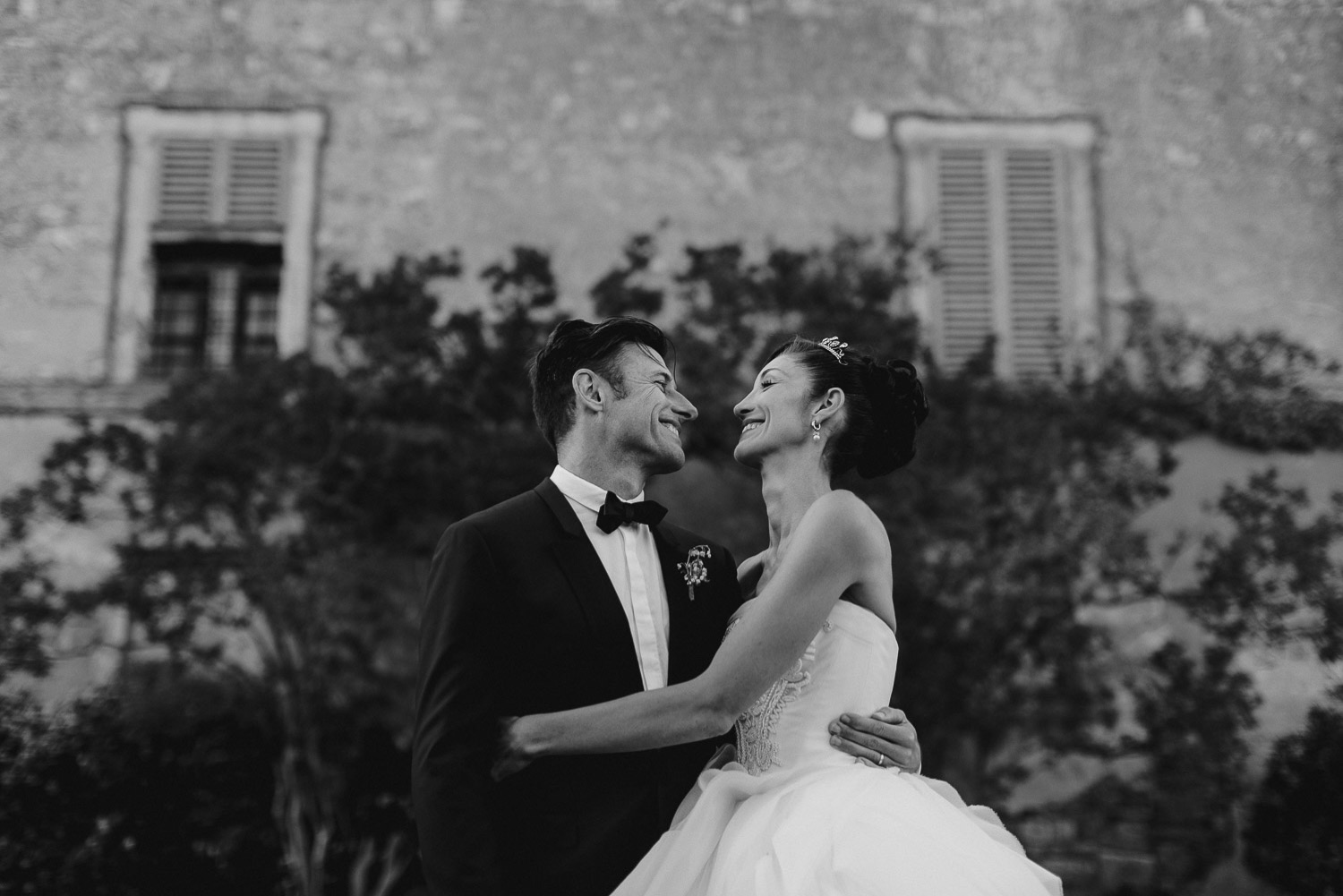 Bride and groom portrait in B/W